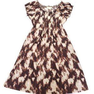 Michael Kors Brown Printed Short Sleeve Dress